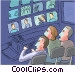 Control room-TV production Vector Clipart illustration