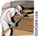 Baker taking bread from oven Vector Clip Art picture
