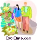 Couple walking past a flower stand Vector Clipart graphic