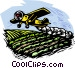 Farm scene crop dusting Vector Clipart illustration