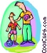 Father and son Vector Clip Art graphic