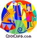 lion tamer at the circus Vector Clip Art graphic