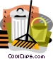 garbage can with broom Vector Clipart graphic