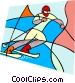 Olympic sports, downhill skiing Vector Clip Art image