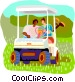 Golfers waiting in golf cart Vector Clip Art picture