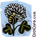 honey bee with clover Vector Clip Art image