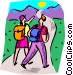 Couple hiking Vector Clipart picture