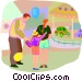 visiting the amusement park Vector Clip Art image