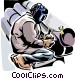 Welder welding  pipes Vector Clipart picture