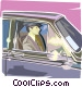 Chauffeur waiting in limo Vector Clipart illustration