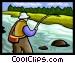Fly fisherman Vector Clip Art image