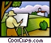 Artist painting an outdoor scene Vector Clipart graphic