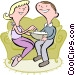 Couple eating popcorn Vector Clip Art graphic