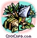 Cruise ship with palm trees Vector Clip Art picture