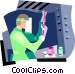 Woman working in lab Vector Clip Art graphic