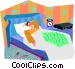 man in bed Vector Clipart image