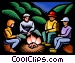 Family sitting around campfire Vector Clipart illustration