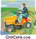Man cutting lawn with riding mower Vector Clipart graphic