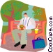 lunch in the park Vector Clip Art graphic
