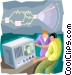 the invention of television Vector Clipart graphic