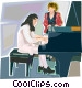 piano lesson Vector Clip Art image
