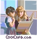 Teacher reading to student Vector Clipart illustration