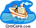 ship on the high sea Vector Clipart graphic