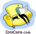 Relaxing reading the newspaper, lounging Vector Clipart graphic
