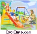 Mother playing with children, swings Vector Clip Art image