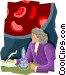 scientist with microscope Vector Clipart illustration