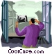 taking a picture from balcony Vector Clipart illustration