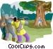 shooting an arrow at a man Vector Clip Art graphic