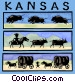 Kansas with cowboys and Vector Clipart graphic