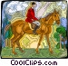 Person riding horse Vector Clipart picture