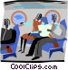 two people talking in an air Vector Clipart graphic