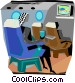 passenger sitting in a plane Vector Clip Art graphic