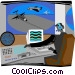 airport radar system Vector Clipart image