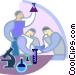 Researchers performing tests Vector Clip Art graphic