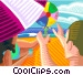 Family playing with beach ball Vector Clipart picture