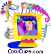 computer monitor with insects Vector Clip Art graphic