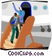 people getting off plane Vector Clip Art image