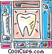 Tooth motif with toothbrush, tooth paste Vector Clipart graphic