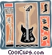 electric guitar with microphone Vector Clip Art picture