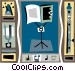 music stand with flute Vector Clip Art graphic