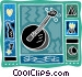 banjo with music notes Vector Clip Art graphic