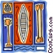canoe racing with paddles Vector Clipart image