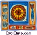 Dartboard motif, with darts and beer Vector Clipart illustration