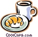 croissant with cup of coffee Vector Clip Art graphic