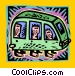 bus with passengers Vector Clip Art graphic