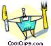 chef with fork and knife Vector Clipart graphic